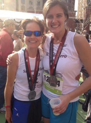 Maggie, pictured left, at the 2012 St. Jude Half Marathon